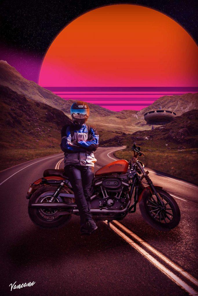 Art of a biker in a retrowave setting.