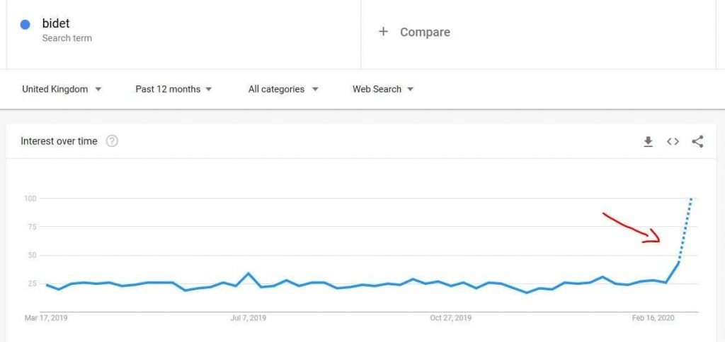 Google trends graph showing the massive spike of searches for bidet