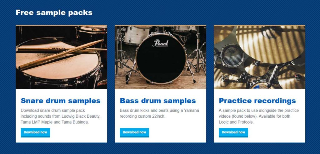 Snare drum and Bass drum sample packs