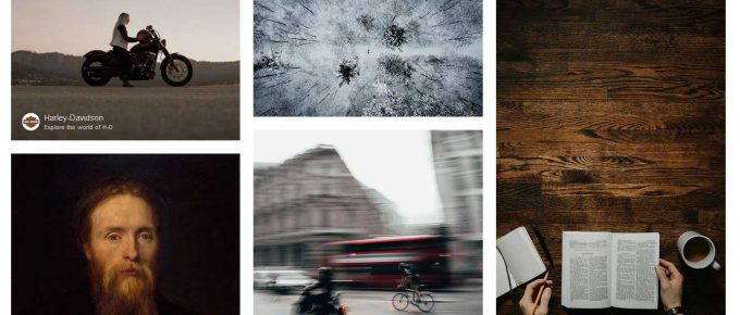 Unsplash's homepage with Harley Davidson featured prominently.